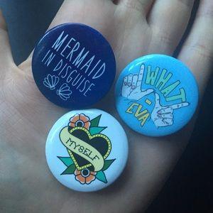 Mermaid in disguise, love myself, whatever pins